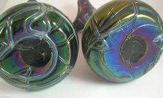 Pair Austro Bohemian Iridescent Threaded Veined Glass Vases Pallme Konig | eBay