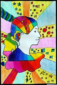 Peter Max...style self portraits