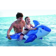 """Jilong 57"""" Transparent Blue and White Whale Rider Inflatable Swimming Pool Float Toy 32148733"""