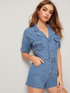 Button Front Flap Pocket Denim Romper for Sale Australia Demin Skirt Outfit, Denim Shirt Dress, Denim Overalls, Denim Fashion, Fashion Outfits, All Jeans, Denim Shop, Colored Denim, Unique Fashion