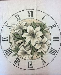 "24'' Cross Stitched Clock ""Flower Arrangement"""