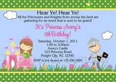 Princess and Knight Birthday Invitation by TheTrendyButterfly,