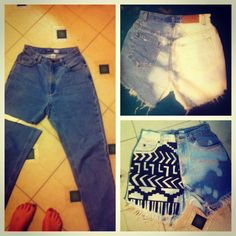 #DIY Cutoff jean shorts from the thrift store for two bucks... All you need is bleach, fabric paint and sandpaper for destroyed look Thrift Store Diy Clothes, Thrift Store Fashion, Thrift Store Finds, Customised Clothes, Diy Shorts, Cut Off Jeans, Fabric Painting, Diy Painting, Sandpaper