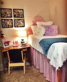 Easy enough: make your own collages, bring a small headboard to stick behind your dorm bed, bring your own lamp.