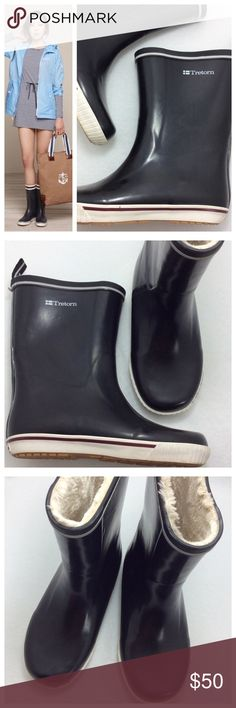 Tretorn Skerry Vinter Rain Boots You'll be puddle jumping in these Tretorn rain boots! Waterproof upper with rubber sole, faux fur lining keeps feet warm and comfortable. Heel pull tab for easy removal. Excellent like new condition. Size 38 Tretorn Shoes Winter & Rain Boots