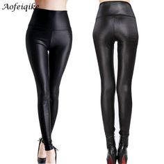 New Faux Leather Leggings Sexy Fashion High-waist Stretch Material Pencil Women Leggings Sexy Leggings Women