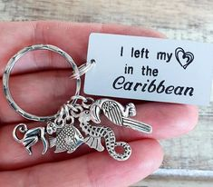 I left my heart in the Caribbean Keychain Personalized Transparent Bag, Leave Me, My Heart, Caribbean, Monkey, Initials, Messages, Make It Yourself, Vacation