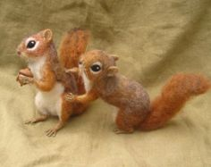 Needle felted grey squirrel woodland animal made to by Ainigmati