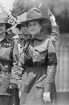 Juliette Gordon Low, founder of the Girl Scouts of the USA, in Girl Scout uniform. 1917
