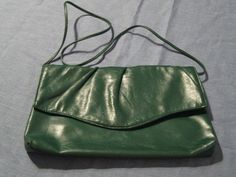 Vintage 1980s Green Vinyl Shoulder Bag/Clutch by GoodBuyForNow on Etsy