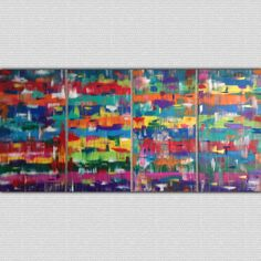 Dancing Colors - Abstract Painting 4 Piece Set - http://shanlatteart.com/product/dancing-colors-abstract-painting-4-piece-set/