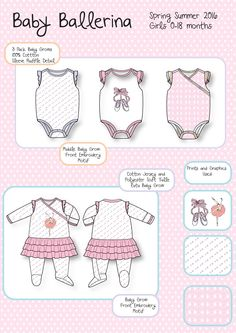 Baby Childrenswear Fashion Collection for Paul Denicci Ltd by Chandni Patel. Flat drawings and baby grow packs