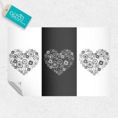 Fototapeta czarno-białe serduszka. #fotota[eta #love #heart #serce #dekoracja #home
