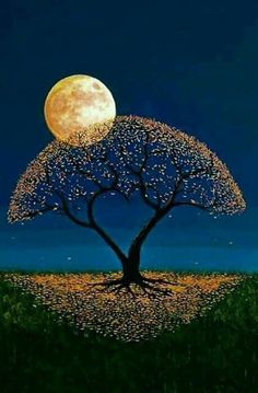 Such a unique pretty tree and moon painting Moon Pictures, Nature Pictures, Beautiful Pictures, Beautiful Artwork, Ciel Nocturne, Shoot The Moon, Moon Painting, Good Night Moon, Beautiful Moon
