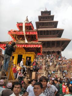 Bhaktapur during Bisket Jatra    Bisket Jatra is the Nepali New Year and it is celebrated during a 7 day festival in the month of April. One of the best places to see this wonderful event is the old kingdom city Bhaktapur. During the festival the streets are crowded with people willing to participate in the chariot pulling. Other highlights are the erection and bringing down of the Yoshinkhel Pillar.