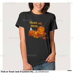 Trick or Treat! Funny Jack O'Lantern Halloween T-Shirts and Sweatshirts. Matching cards, postage stamps , Halloween Party Invitations and other products available in the Holidays / Halloween Category of the artofmairin store at zazzle.com