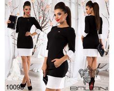 Деловое мини платье в обтяжку черное с белыми вставками
