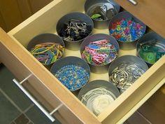 Tuna cans for drawer organizer junk drawer, craft, drawer organization, office supplies, cat food, hgtv, tin cans, desk, old stuff