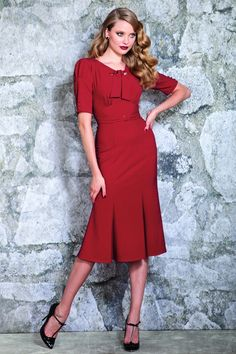 Stop Staring! - 40s Classy Rouge Pencil Dress