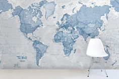 You can turn your wall into a huge atlas with this fantastic world map wallpaper. The soft muted colours of greys and blues are great for a neutral pared back look, whilst still incorporating the vast amount of detail that the map has to offer.