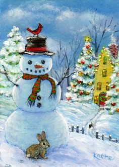 Little rabbit in snow cardinal perched on snowman's hat Kathe Soave art and other things