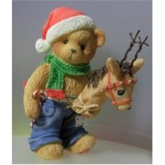 "Cherished Teddies ""Ralph"" Christmas Reindeer Bear Figurine, 2000, ""Bring Joy To Those You Hold Dear"""