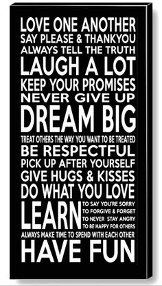 FAMILY RULES Canvas Print  priced from only $49.95. Loads of sizes and colours available x