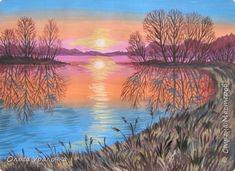 Мастер-класс Урок рисования Рисование и живопись Пейзаж Тихий вечер Гуашь фото 1