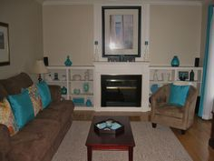 Living room in teal and chocolate brown- Love these colors