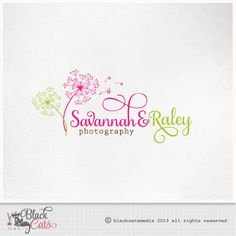 Photography  Logo  Dandelion logo pink and green - Script Font - Eps file included  Etsy Banner avatar and matching business card