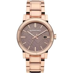 Burberry Ladies The City Rose Gold Tone Bracelet Watch BU9005 ($675) ❤ liked on Polyvore featuring jewelry, watches, bracelets, accessories, burberry jewelry, bracelet watch, burberry, watch bracelet and burberry watches