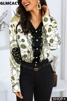 Metallic Prints, Cheap Blouses, Party Shirts, Casual Looks, Sleeve Styles, Work Wear, Casual Shirts, Clothes For Women, Elegant