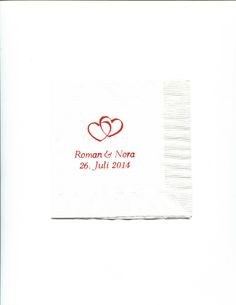 Double heart personalized napkins. Also a classic! Choose from tons of colors, fonts, etc. www.napkinspersonalized.com