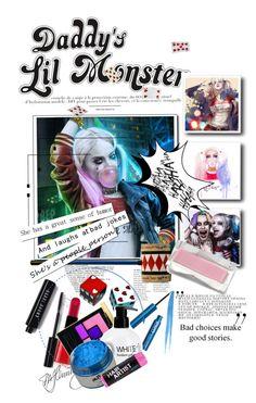 """halloween beauty: harley quinn"" by mercimasada ❤ liked on Polyvore featuring beauty, Bobbi Brown Cosmetics, Giorgio Armani, Yves Saint Laurent, Revlon, makeup, harleyquinn, halloweencostume, beautyset and SuicideSquad"