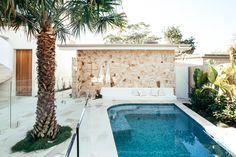 Backyard Reveal - Kyal & Kara : Kyal & Kara Sandstone Wall, Sandstone Paving, Stone Cladding, Timber Cladding, Contemporary Landscape, Landscape Design, Large Round Ottoman, Kyal And Kara, Cool Fire Pits