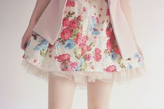 Floral skirt with pink cardigan
