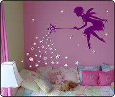 Fairy Wall Decal w/ Falling Stars Wand - vinyl wall art decal. $35.00, via Etsy.