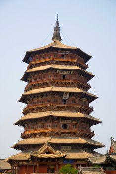 山西应县佛宫寺释迦塔 Skyamuni Pagoda/Shi Jia Pagoda- the highest extant ancient wooden…