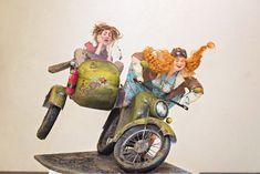 Купить С ветерком - интерьерная кукла, авторская кукла, подарок на любой случай, мотоцикл