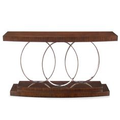 Limited Production Design & Stock: Contemporary Center Piece Ringed Console Table * Santos Rosewood & Chrome * 38 x 65 x 17 * Once Sold Out No More Will Be Made Living Room Plan, Living Room Designs, Narrow Table, Hotel Room Design, Trends, Accent Decor, Furniture Design, Metal Furniture, Table Furniture