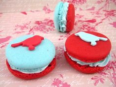 Aqua + Red macaroons + possibly try dyed peanut butter in the middle and dipped ritz crackers in dyed white chocolate