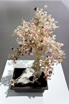 Haruko Maeda, Knockenbonsai 3, 2012, Animal skull, bones of pigs and chicken, beads, wire and ceramic, 42x28x38cm