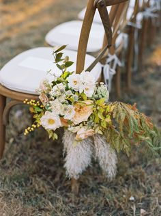 Flowers, berries, and grasses are organic details we love. Use them to decorate your ceremony aisle or wedding arch. If you're worried about them lasting, try dried blooms. Church Wedding Flowers, Aisle Flowers, Fall Wedding, Wedding Bouquet, Wedding Bells, Dream Wedding, Pumpkin Wedding, Wedding Chairs, Decor Wedding