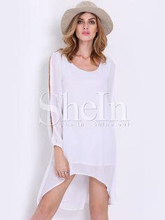 White Split Long Sleeve Shift Dress -SheIn(Sheinside)