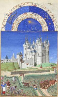 [베리공작의 기도서,9월] 랭브르 형제.  1416년, 22.5x13.6cm,콩데 비술관.  베리공작의 기도서 안에 그려진 9월을 의미하는 그림.