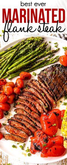 Marinated Flank Steak, Flank Steak Recipes, Meat Recipes, Cooking Recipes, Healthy Recipes, Flank Steak Marinades, Water Recipes, Grilled Flank Steak Recipe, Grilling Flank Steak