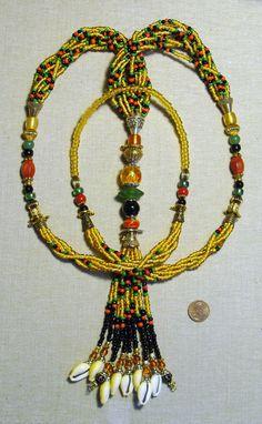 """Oshun Ibu Kole Large Eleke or Mazo"" For more information, go to the following link: http://beadzonejewelry.com/"