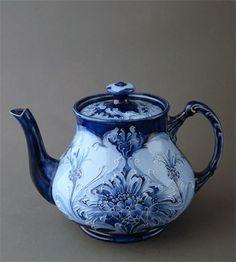 Blue & White William Moorcroft Florian Cornflower Teapot C1900