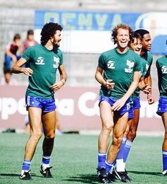 Socrates & Falcao of Brazil training during the 1982 World Cup