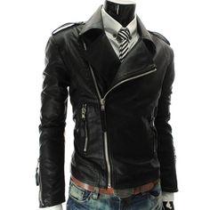 30.45$  Buy here - http://divj3.justgood.pw/go.php?t=184868111 - Zipper Stand Collar PU-Leather Epaulet Long Sleeve Men's Jacket
